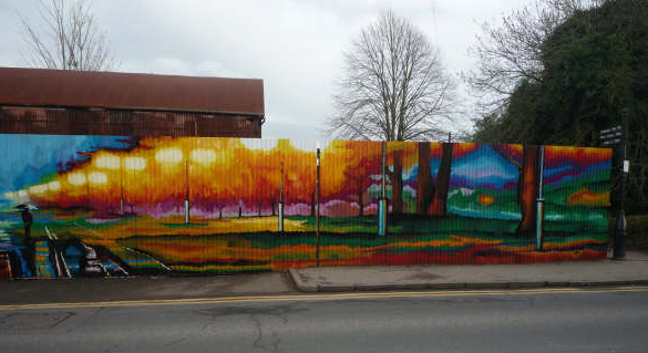 ross corrugated iron fence landscape mural