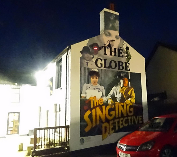 singing detective by dennis potter mural at night